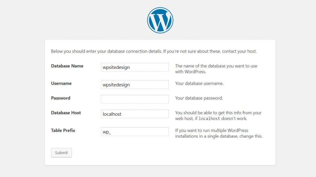WordPress browser installation