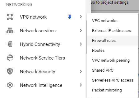 Google Cloud VPC Networks menu subset