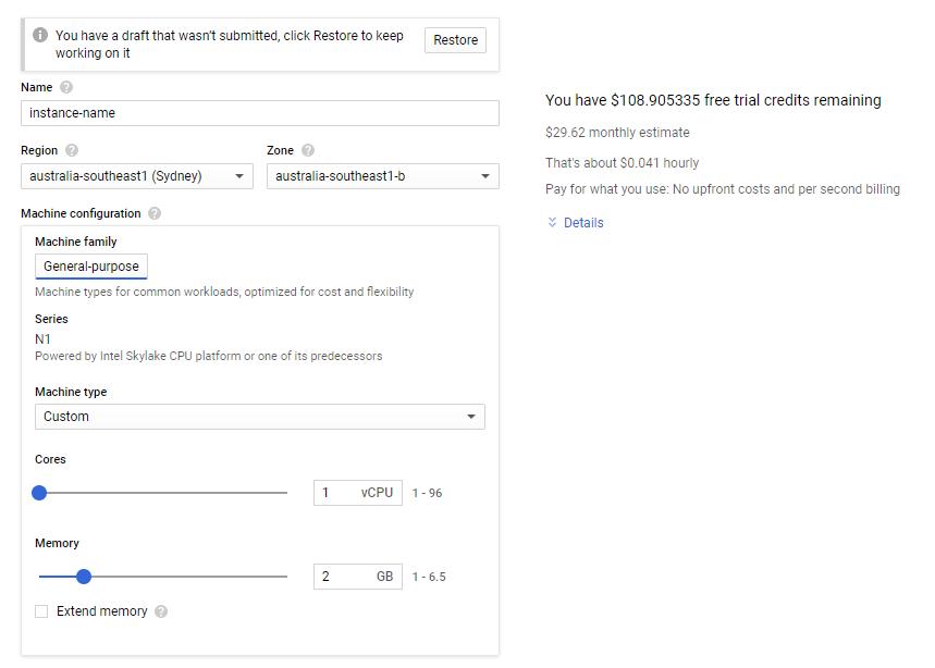 Google Cloud set up new VM instance