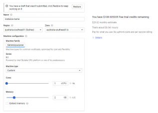 Google Cloud create VM instance