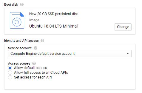Google Cloud create Vm instance boot disk