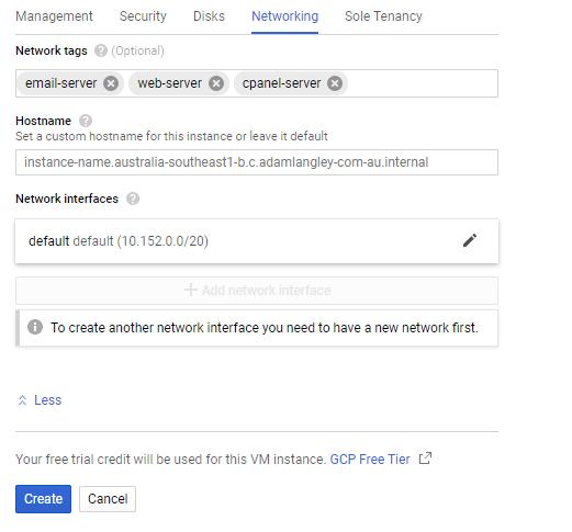 Google Cloud create VM Instance