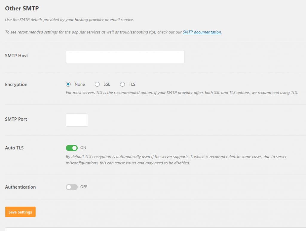 WP Mail SMTP other setup